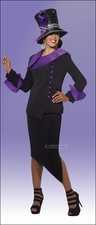 Donna Vinci Fashion Black and Purple Suit with Trapunto Stitching 11245