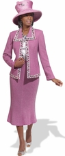 Donna Vinci Knit Rose Silver Jeweled Church Suit 2965