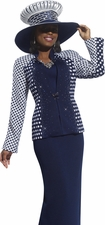 Women's Donna Vinci Knit Stylish Polka Statement Suit 2950