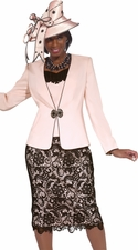 Women's Donna Vinci Lace Suit in Blush Pink 11288