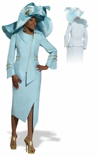 Women's Donna Vinci Baby Blue Fashionista Church Suit 11290