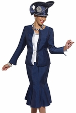 Donna Vinci Navy and White Church Suit with Large Jewel Trims 11236
