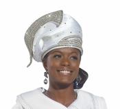 Donna Vinci Pure White Rhinestone Church Hat H1452