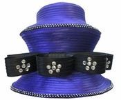 Donna Vinci Purple Hat with Black Ribbon Bow and Sparkling Rhinestones H10003
