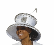 Donna Vinci Special Occasion White Church Hat H1491