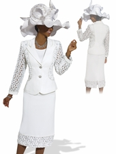 Donna Vinci Special Occasion White Church Suit 5447