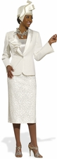 Women's Donna Vinci Splash of Elegance Ivory Suit 11284