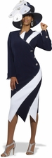 Women's Donna Vinci Classic Cutting Edge Navy & White Suit 11272