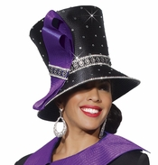 Donna Vinci Stunning High Hat in Black with Purple Bow H2134