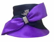 Donna Vinci Two Tone Hat with Big Bow and Rhinestone Brooch in Purple and Black H10019