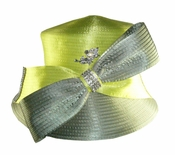 Donna Vinci Two Tone Hat with Big Bow and Rhinestone Brooch in Sage and Lime H10019