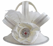 Donna Vinci Womens Ivory Church Hat with Rhinestone Brooch and Feathers H10002