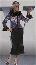 Double Ruffle Collar and Sequin Suit by Donna Vinci in Black and Mauve 5445