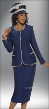 Elegant and Stunning Womens Special Occasion Donna Vinci Navy Suit 11240