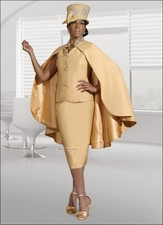 Elegant First Lady and Special Occasion Suit with Cape In Banana 11202