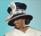 Elegant Womens Navy and Ivory Hat with Pearls and Rhinestones H1465