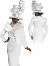 Exclusive Ladies Pure White Donna Vinci Suit with Trapunto Stitching 5422