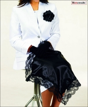 Exquisite Satin And Lace Black Lap Scarf, Gloves, & Pin