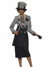 Fall Ladies Boucle Suit in Black and White from Designer Donna Vinci 5429