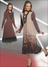 Fall Love The Queen Versatile Dress and Jumper Set in Brown 17109