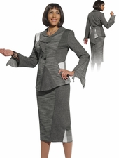 Fashion Designer Suit with Mix Media Fabrics from Donna Vinci Multigrey 5439