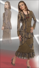 Fashion Trendy Womens Olive Brown Set by Love The Queen 17102