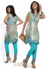 Fashionable Mesh and Lace Printed Tunic and Legging Set 17137