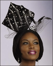 Feathers Mesh and Jeweled Black Fascinator Hat H1382