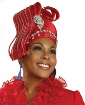 Festive Red Holiday Special Occasion Hat by Donna Vinci H1440