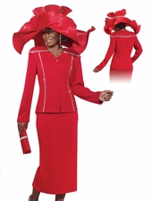 First Lady Church Suit by Donna Vinci Knits in Brilliant Red 2979