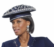 First Lady Designer Church Hat in Navy with Sparkling Stones H2124