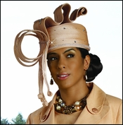 First Lady Elegant Church Hat in Peach by Donna Vinci H1415