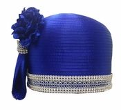 First Lady Satin Womens Special Occasion Hat by Donna Vinci in Royal H10021