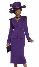 First Lady Special Occasion Suit in Sparkling Purple by Donna Vinci 2949