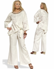 Free Feeling Ladies Linen Set With Lace Trim from Donna 14183