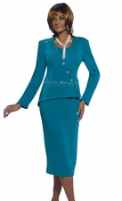 Gorgeous Mosaic Blue Color Knit Suit with Sparkles by Donna Vinci 2951