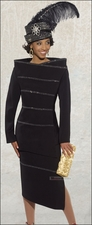 High Fashion Ladies 2 Piece Designer Donna Vinci Black Suit 11246