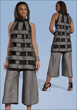 High Fashion Ladies Summer Set in Grey and Black from Donna 14117