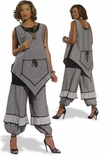 High Fashion Ladies Summer Set in Grey and Black from Donna 14196