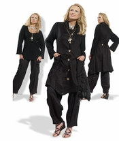 High Quality Black Linen Set from Donna Vinci 14199