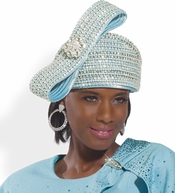 High Quality Donna Vinci Exclusive New Light Blue Church Hat H1501