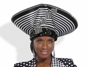 High Quality Striped Ladies High Fashion Church Hat H1486