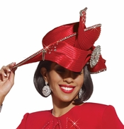 Holiday Special Occasion Womens Red Hat by Donna Vinci H1448