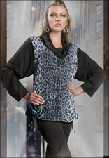Knit Tunic with Cowl Neck and Animal Print Front from Love the Queen 17011
