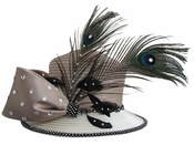 Ladies Beautiful Satin Mauve Hat with Peacock Feathers H10009