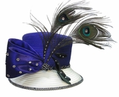 Ladies Beautiful Satin Purple Hat with Peacock Feathers H10009