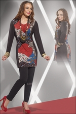 Ladies Casual Knit Multicolor and Black Tunic Set from Love The Queen 17106