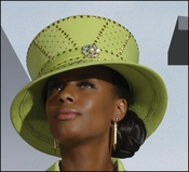 Ladies Classic Designer Hat in Lime Color by Donna Vinci H5420