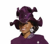 Ladies Classy Purple Rhinestone Church Hat H1476