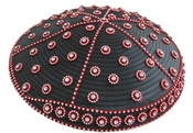 Ladies Designer Church Hat in Black and Red with Rhinestones H10007